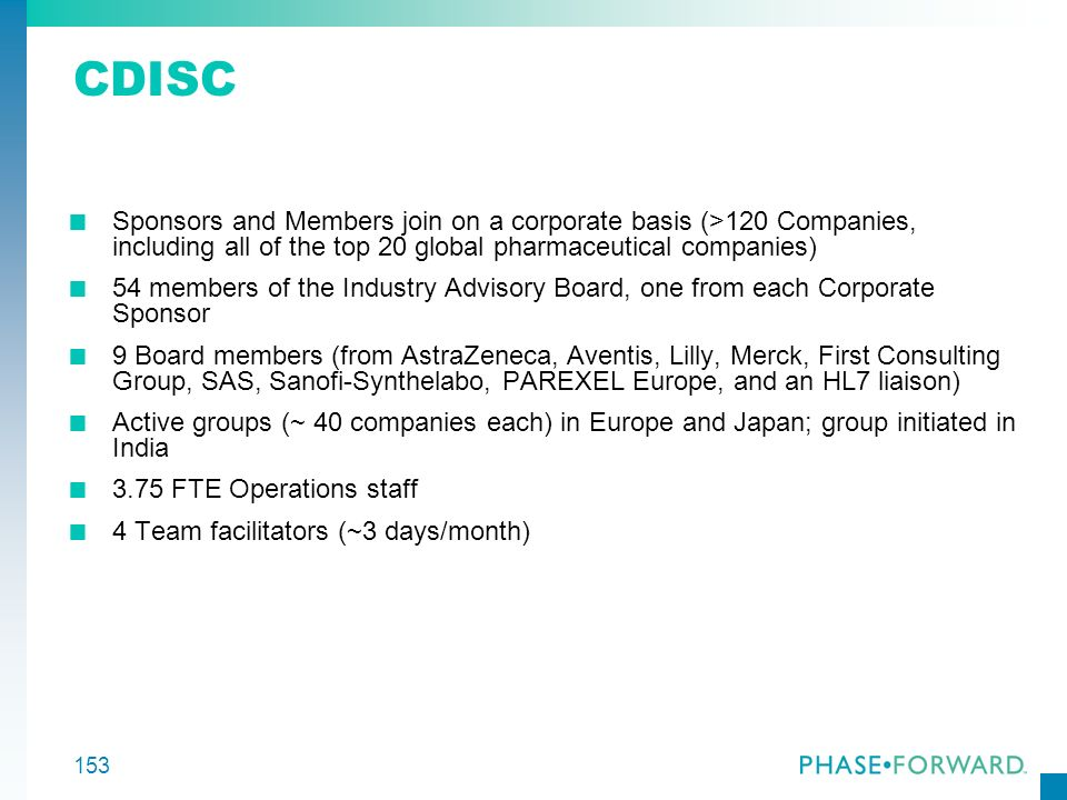 CDISC Sponsors and Members join on a corporate basis (>120 Companies, including all of the top 20 global pharmaceutical companies)