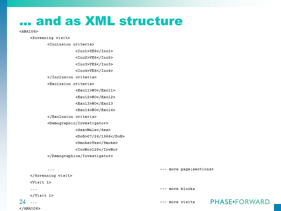 ... and as XML structure <ANA106> <Screening visit>