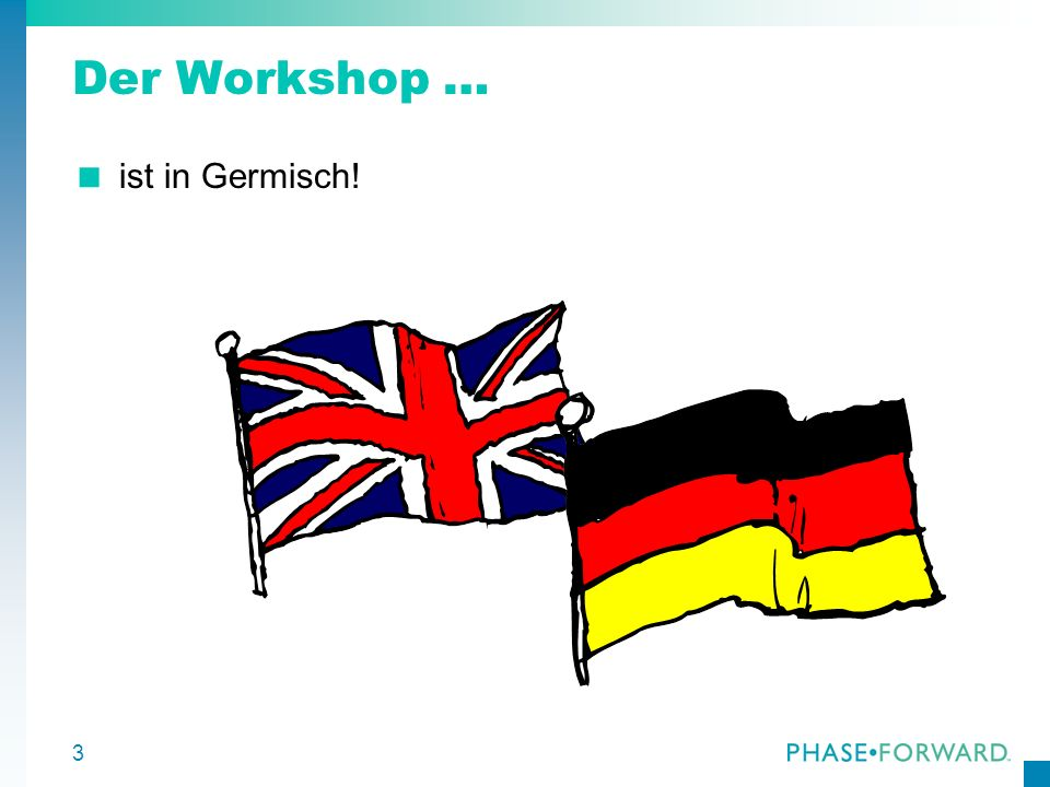 Der Workshop … ist in Germisch!