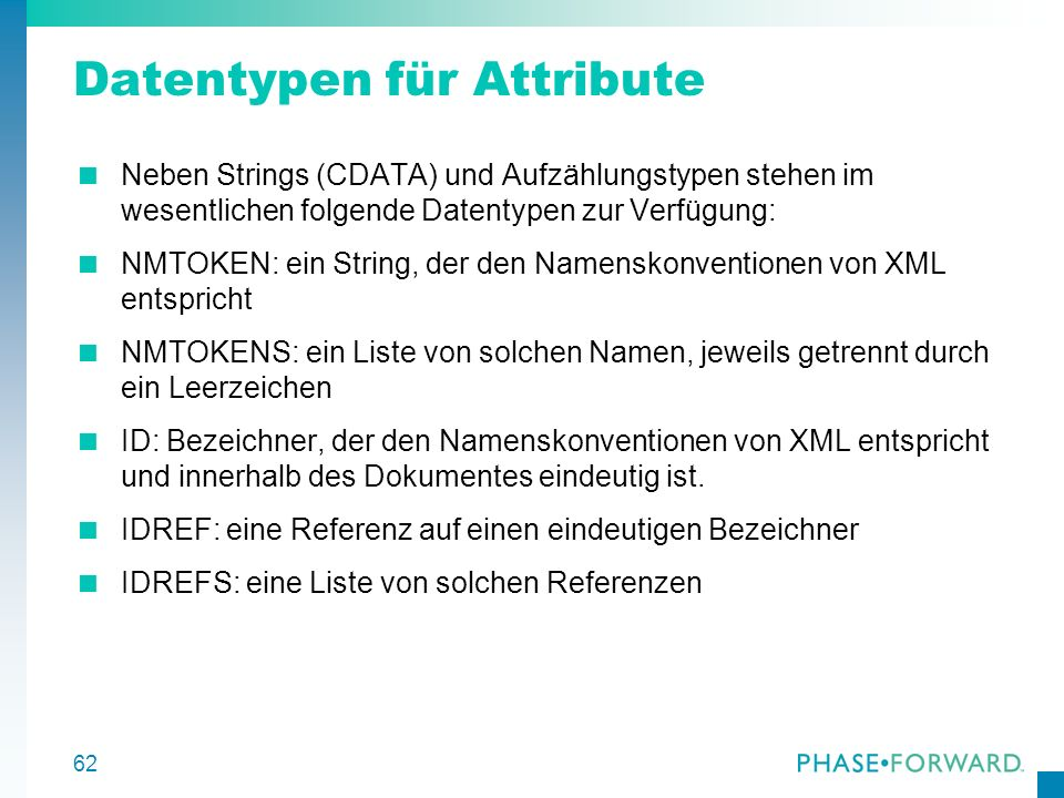 Datentypen für Attribute