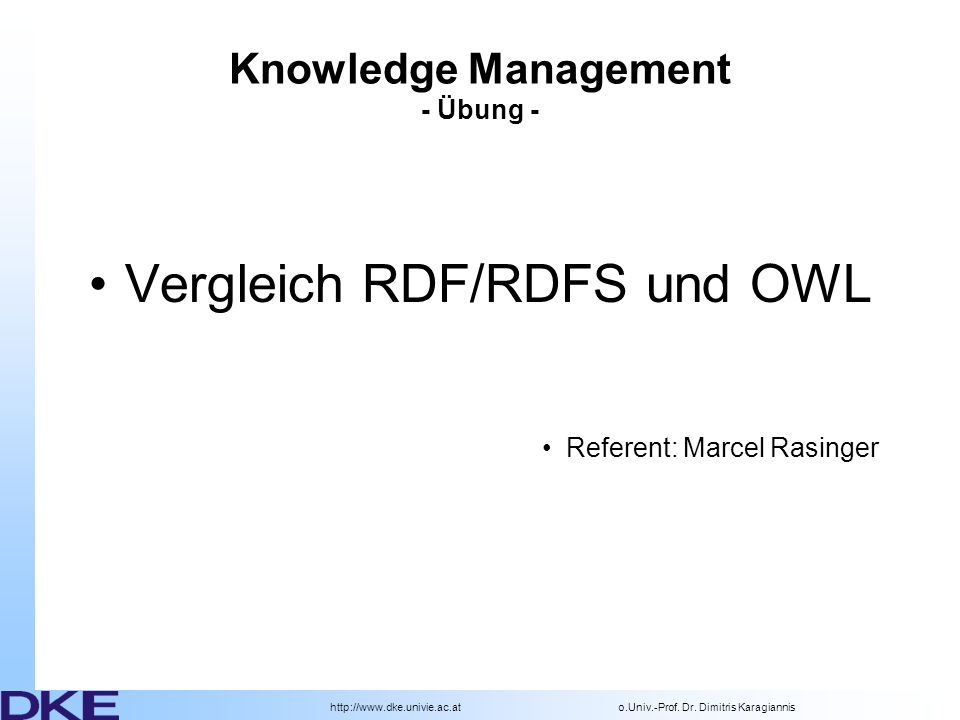Knowledge Management - Übung -