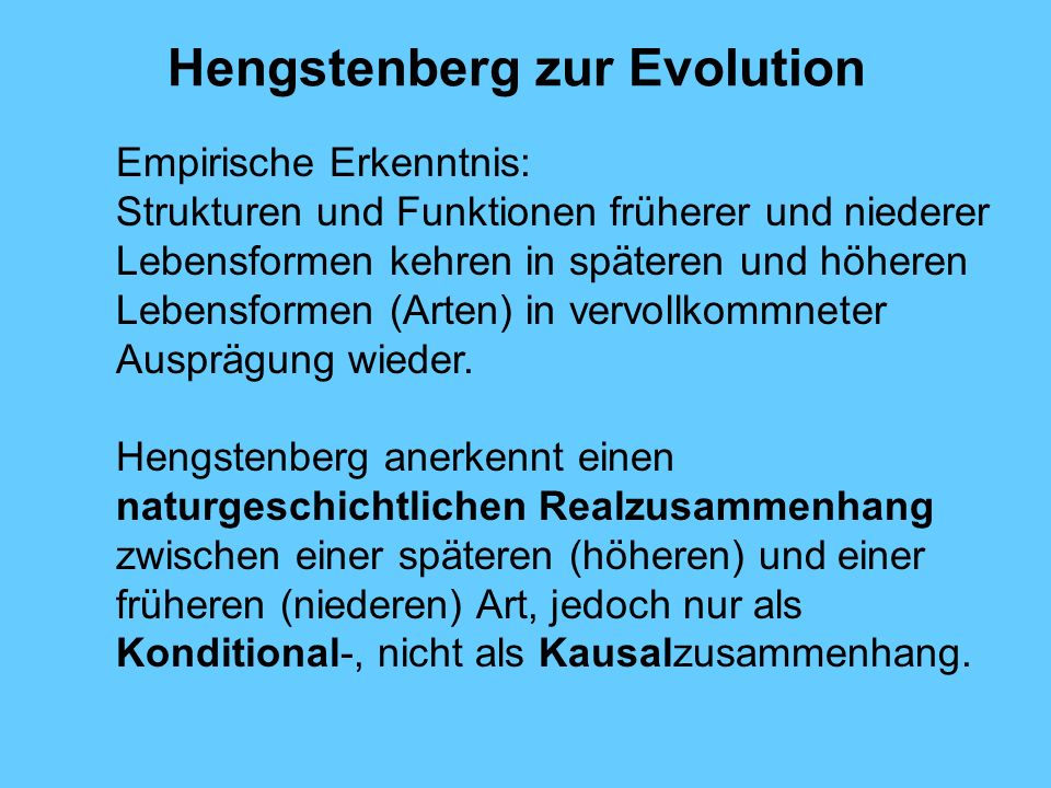 Hengstenberg zur Evolution