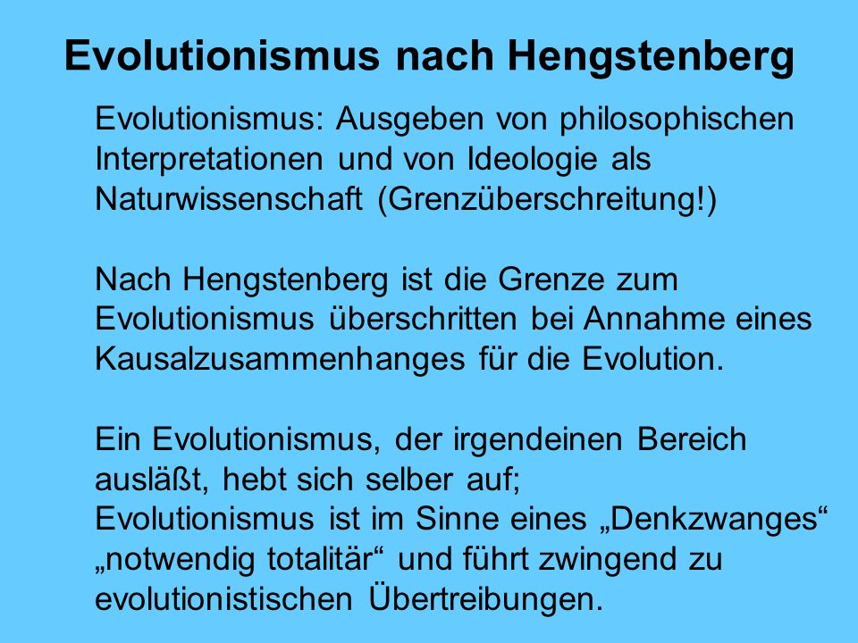 Evolutionismus nach Hengstenberg