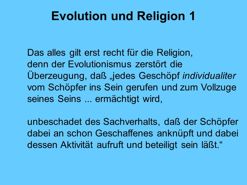 Evolution und Religion 1