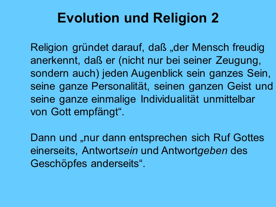 Evolution und Religion 2