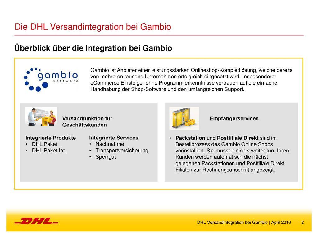 Dhl Versandintegration Bei Gambio Ppt Herunterladen