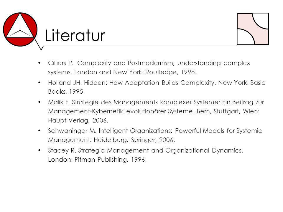 Literatur Cilliers P. Complexity and Postmodernism; understanding complex systems. London and New York: Routledge, 1998.