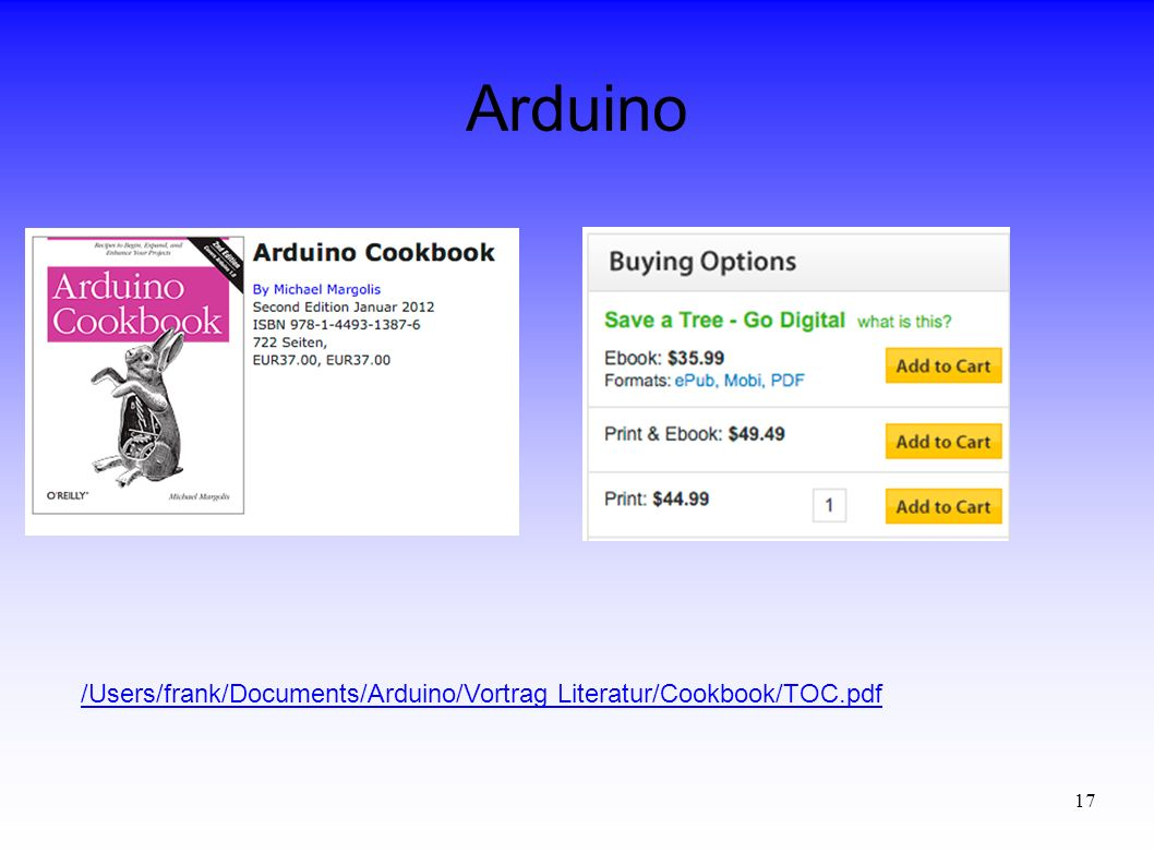 Arduino /Users/frank/Documents/Arduino/Vortrag Literatur/Cookbook/TOC.pdf