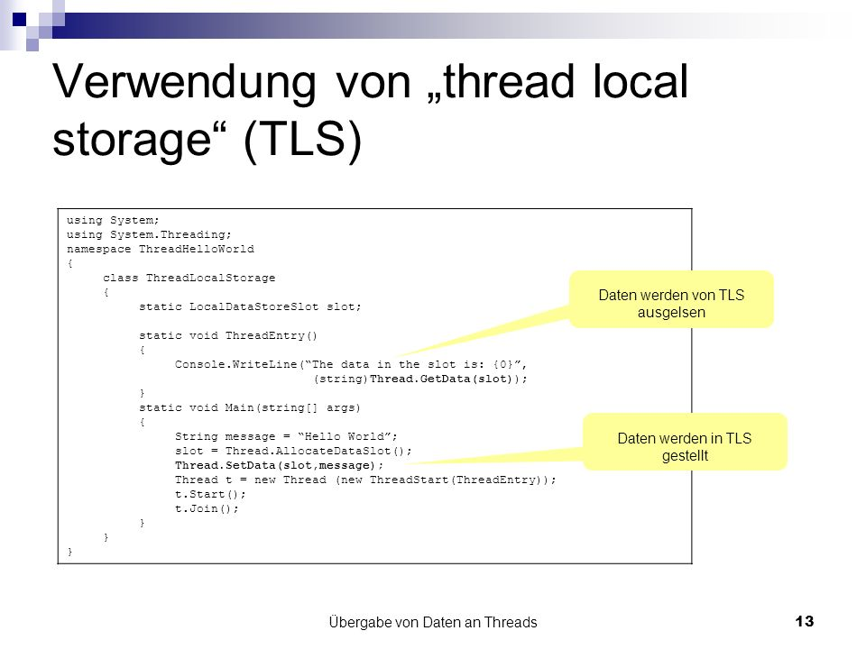 "Verwendung von ""thread local storage (TLS)"