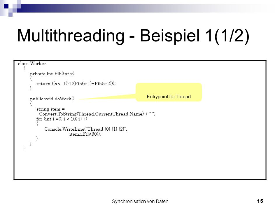 Multithreading - Beispiel 1(1/2)