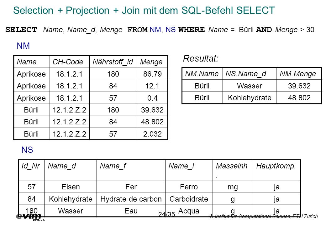 Selection + Projection + Join mit dem SQL-Befehl SELECT