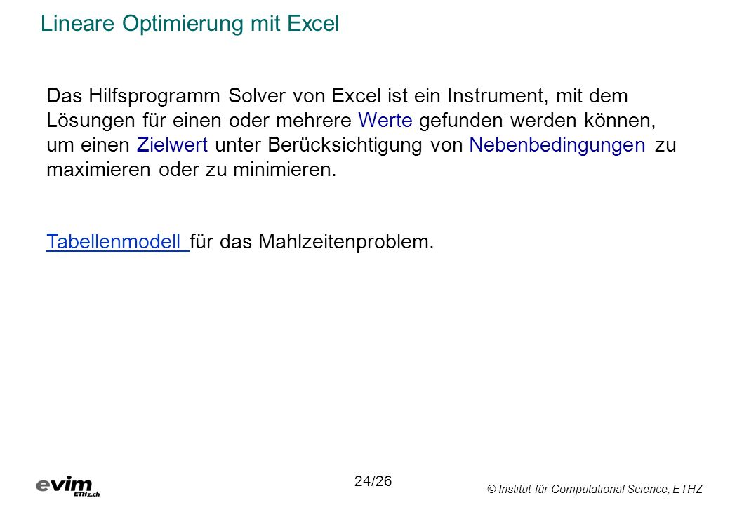 Lineare Optimierung mit Excel