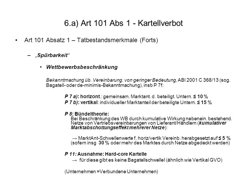 6.a) Art 101 Abs 1 - Kartellverbot