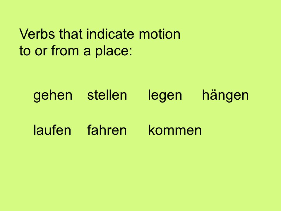 Verbs that indicate motion