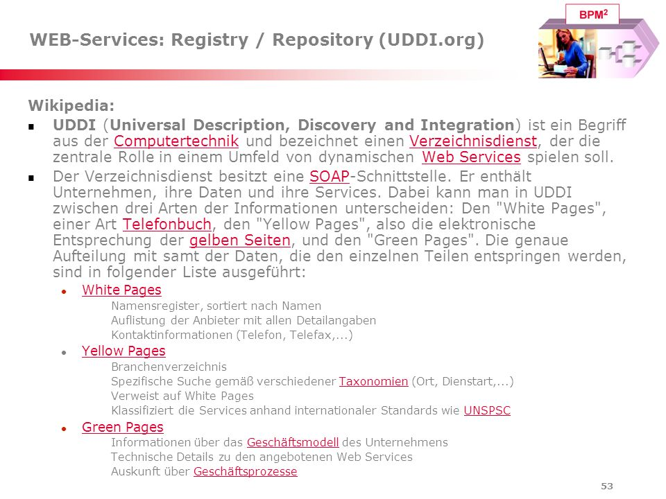 WEB-Services: Registry / Repository (UDDI.org)