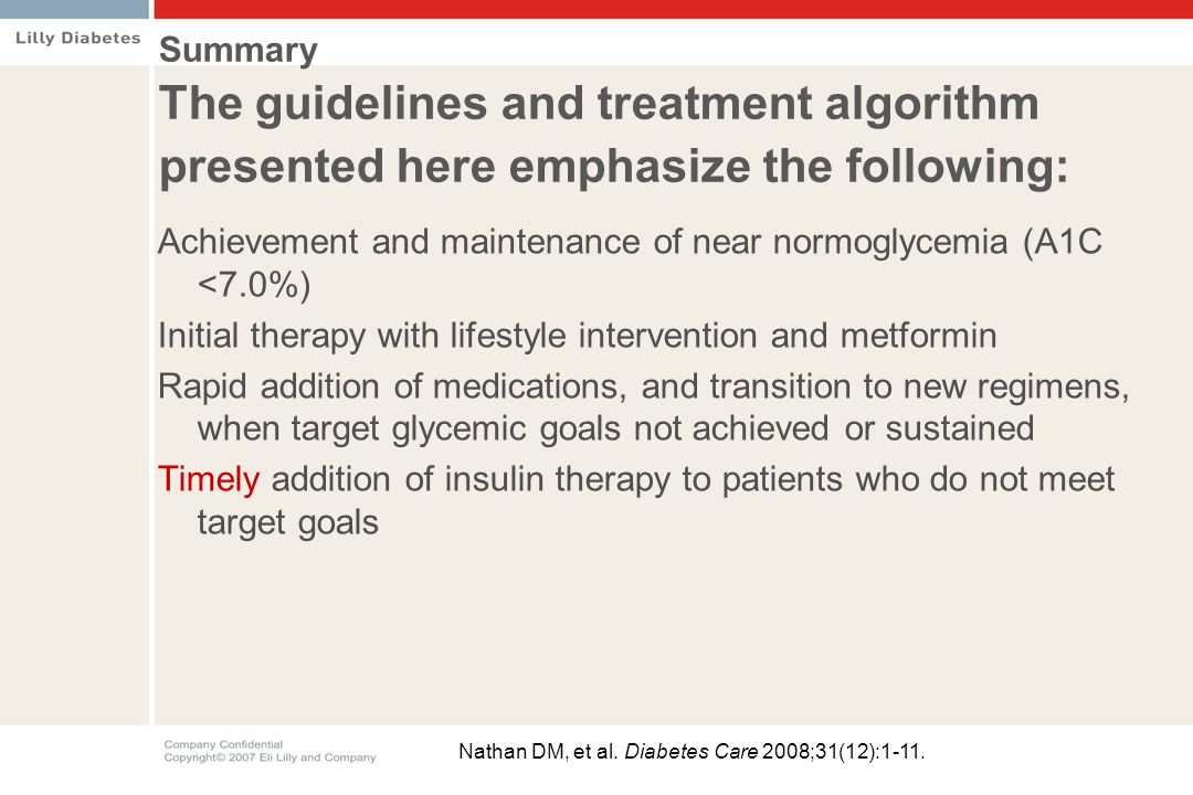 Achievement and maintenance of near normoglycemia (A1C <7.0%)