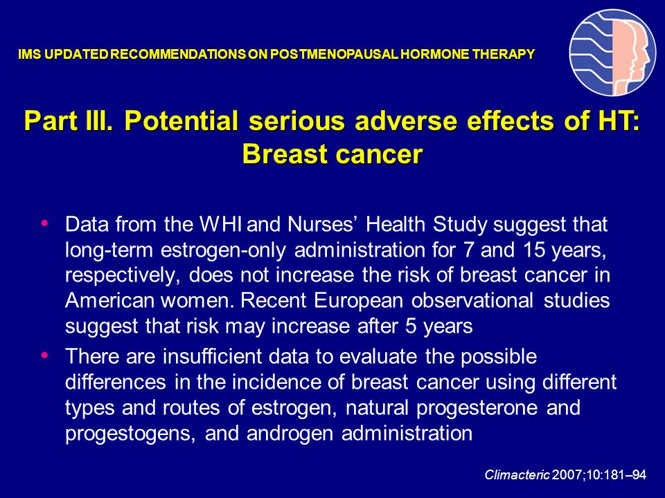 Part III. Potential serious adverse effects of HT: Breast cancer