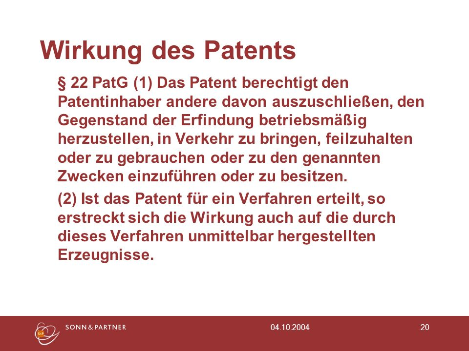 Wirkung des Patents