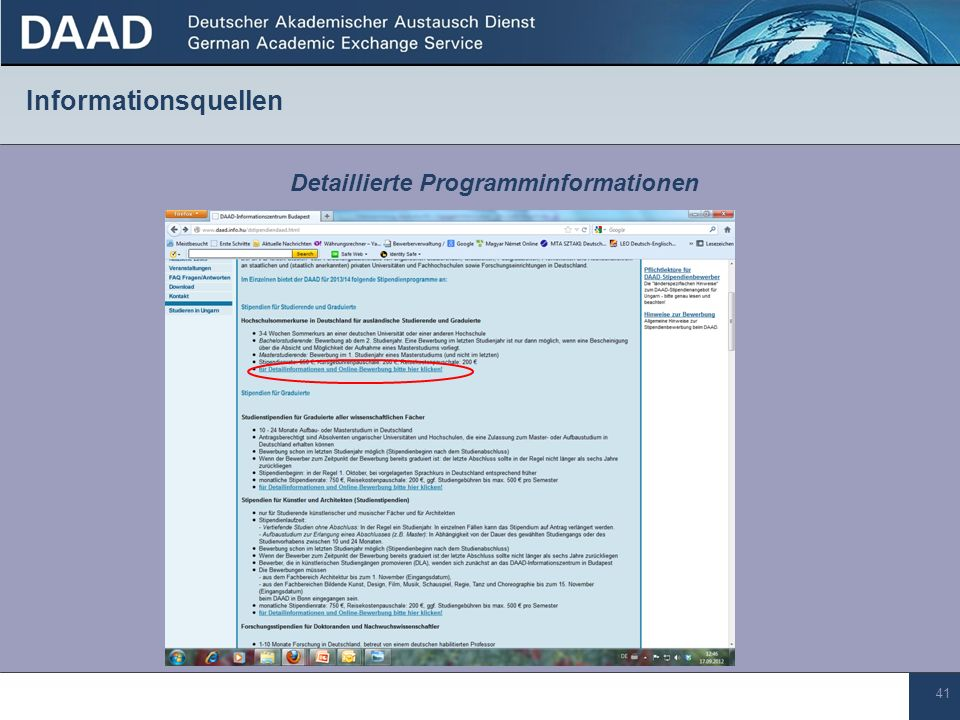 Detaillierte Programminformationen