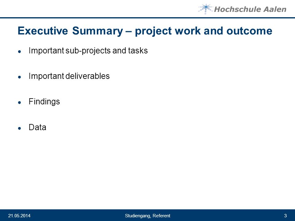 Executive Summary – project work and outcome