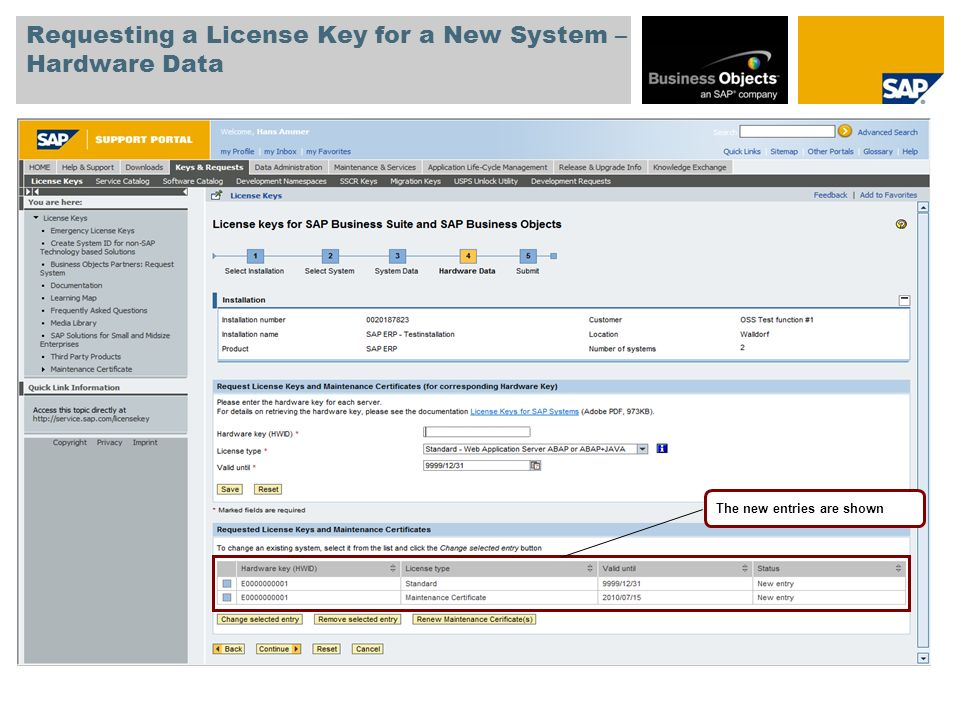 Requesting a License Key for a New System – Hardware Data