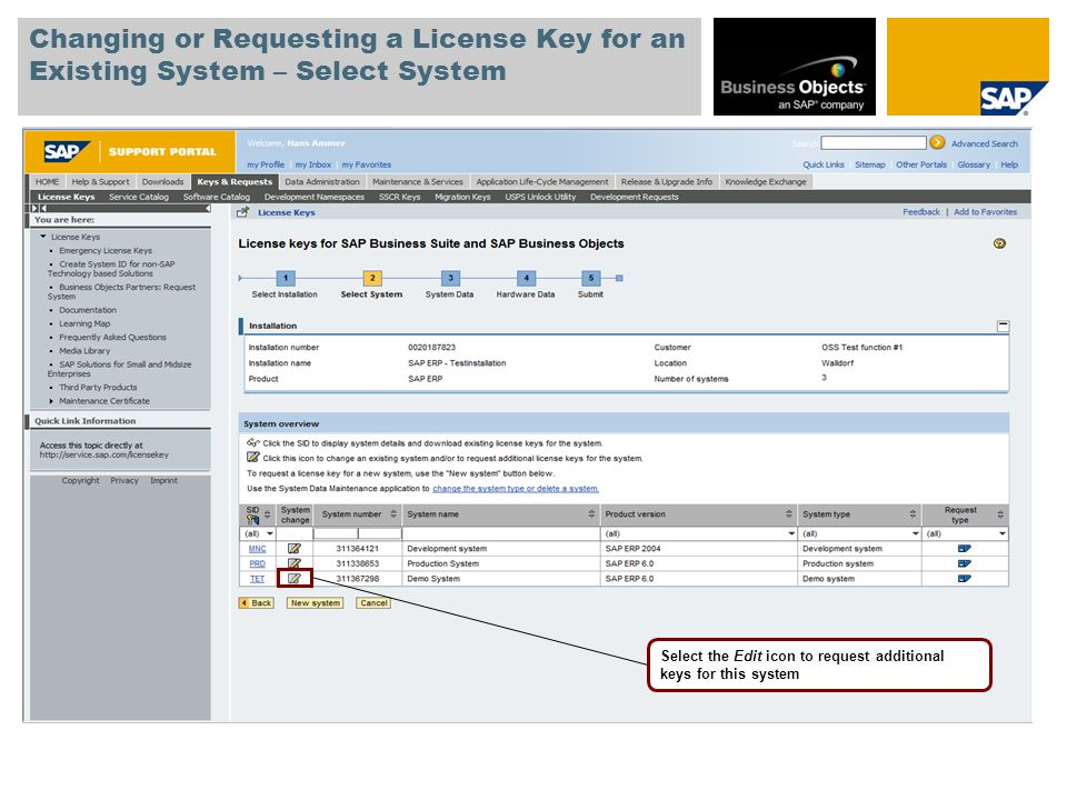 Changing or Requesting a License Key for an Existing System – Select System