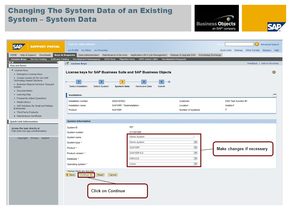 Changing The System Data of an Existing System – System Data