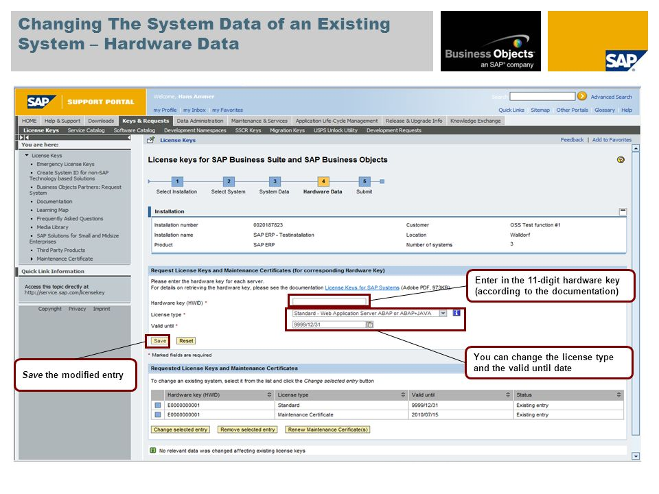 Changing The System Data of an Existing System – Hardware Data