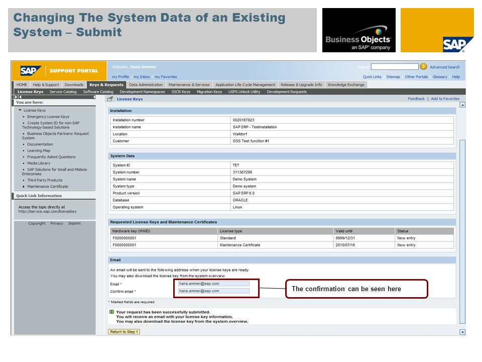 Changing The System Data of an Existing System – Submit