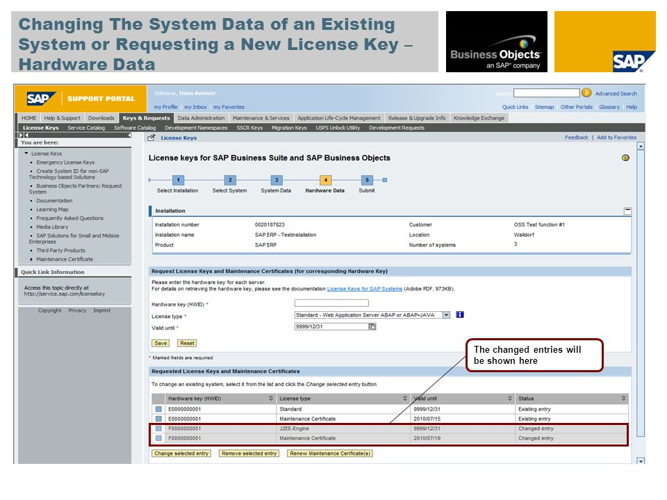Changing The System Data of an Existing System or Requesting a New License Key – Hardware Data