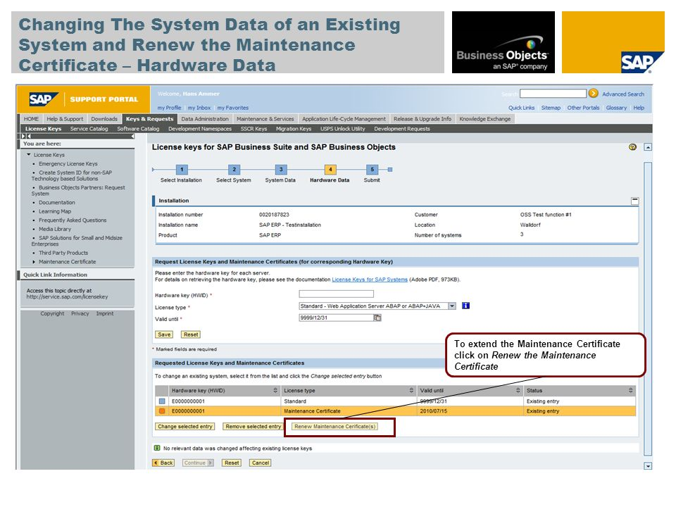 Changing The System Data of an Existing System and Renew the Maintenance Certificate – Hardware Data