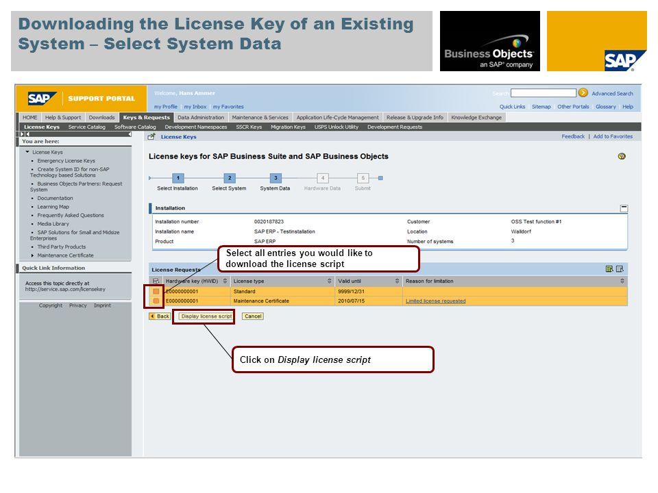 Downloading the License Key of an Existing System – Select System Data