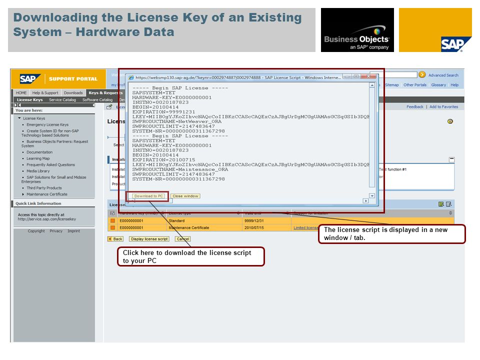 Downloading the License Key of an Existing System – Hardware Data