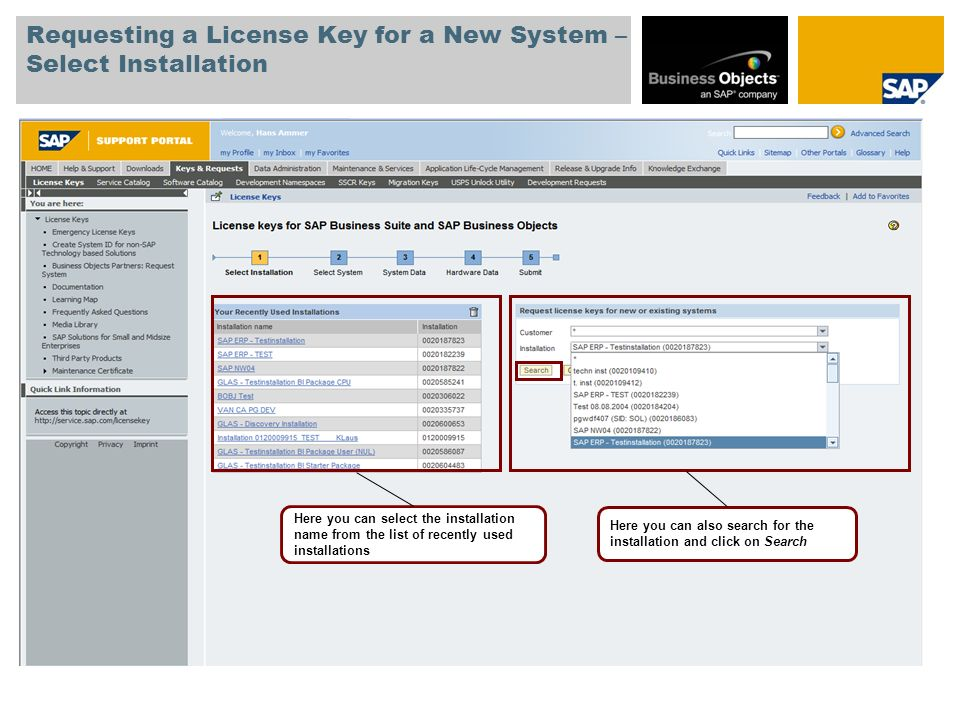 Requesting a License Key for a New System – Select Installation