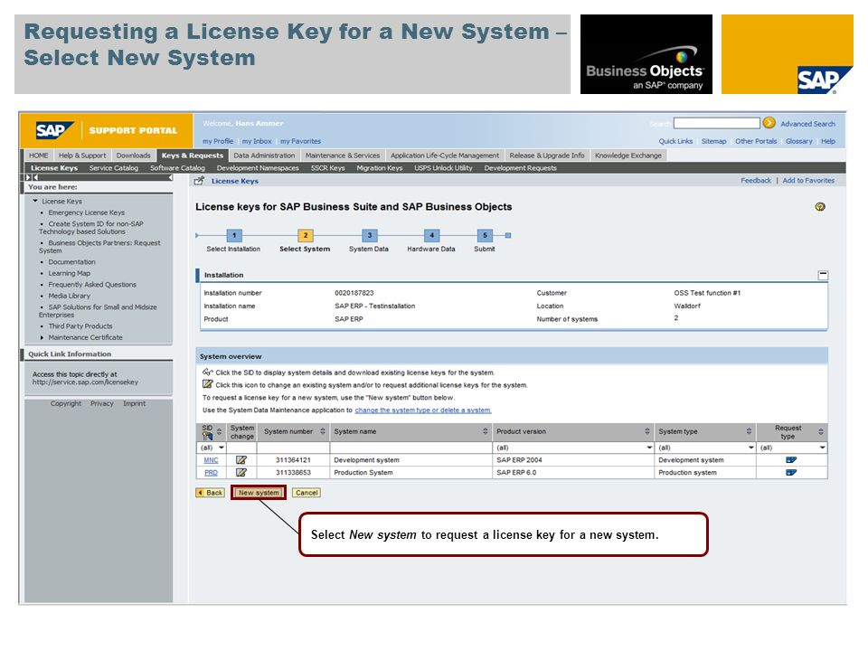 Requesting a License Key for a New System – Select New System