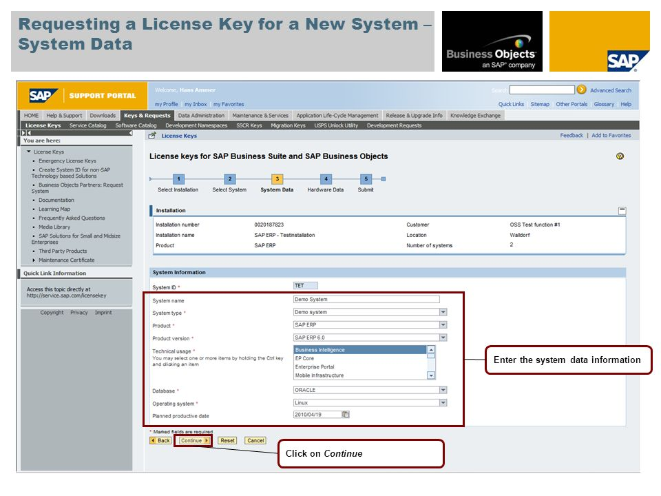 Requesting a License Key for a New System – System Data