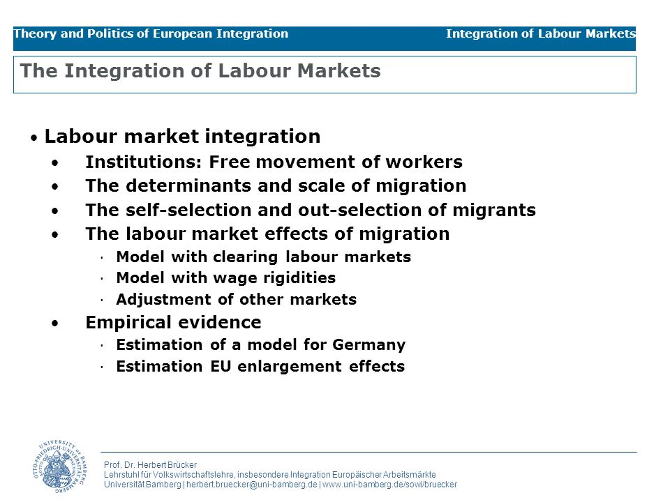 The Integration of Labour Markets