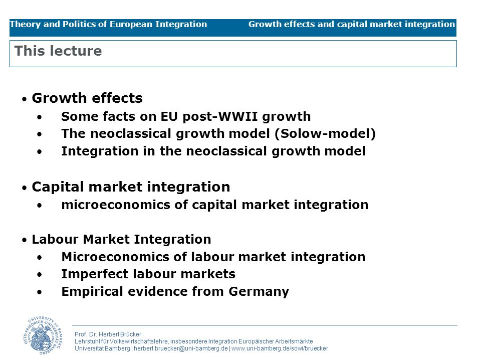 This lecture Growth effects Some facts on EU post-WWII growth