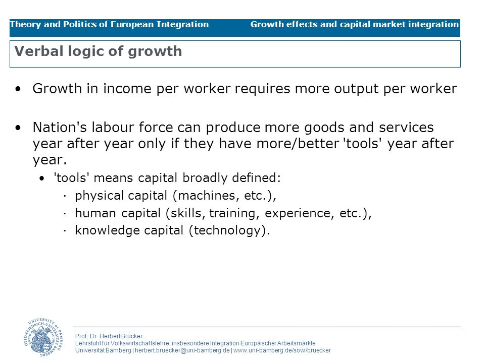 Growth in income per worker requires more output per worker