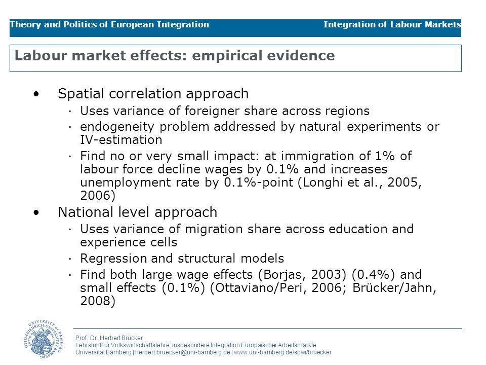 Labour market effects: empirical evidence