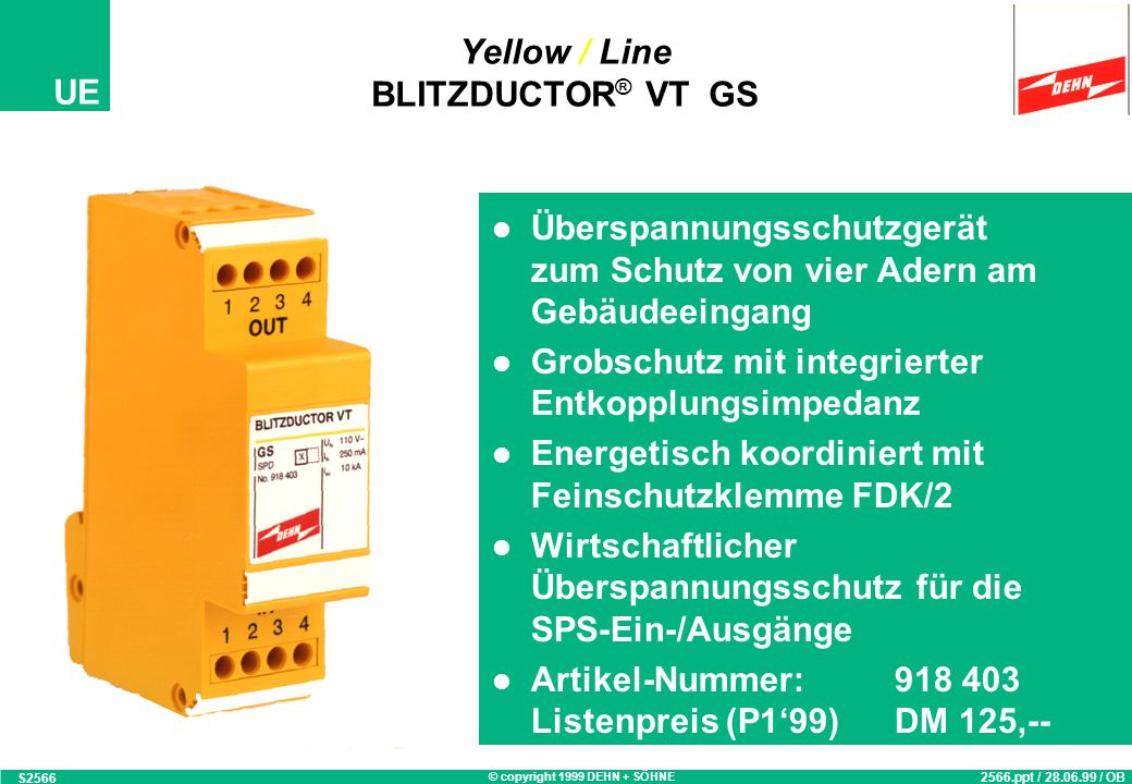 Yellow / Line BLITZDUCTOR® VT GS