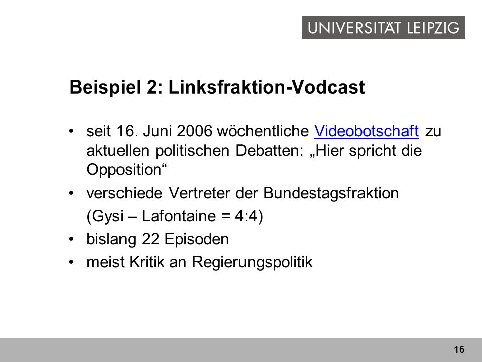 Beispiel 2: Linksfraktion-Vodcast