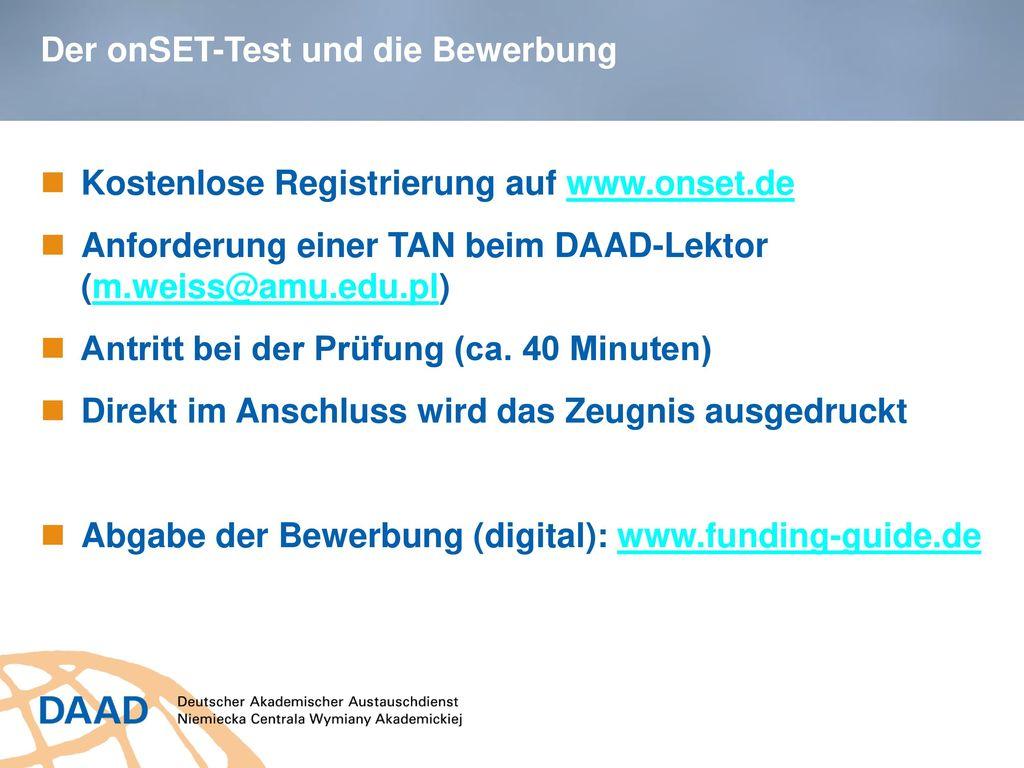 Der onSET-Test und die Bewerbung