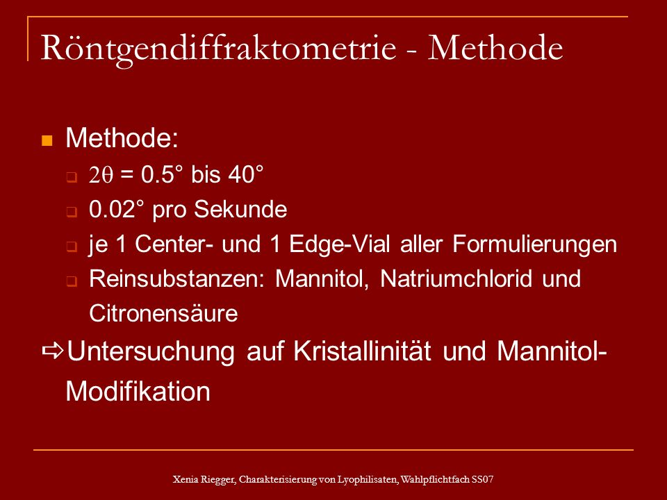 Röntgendiffraktometrie - Methode