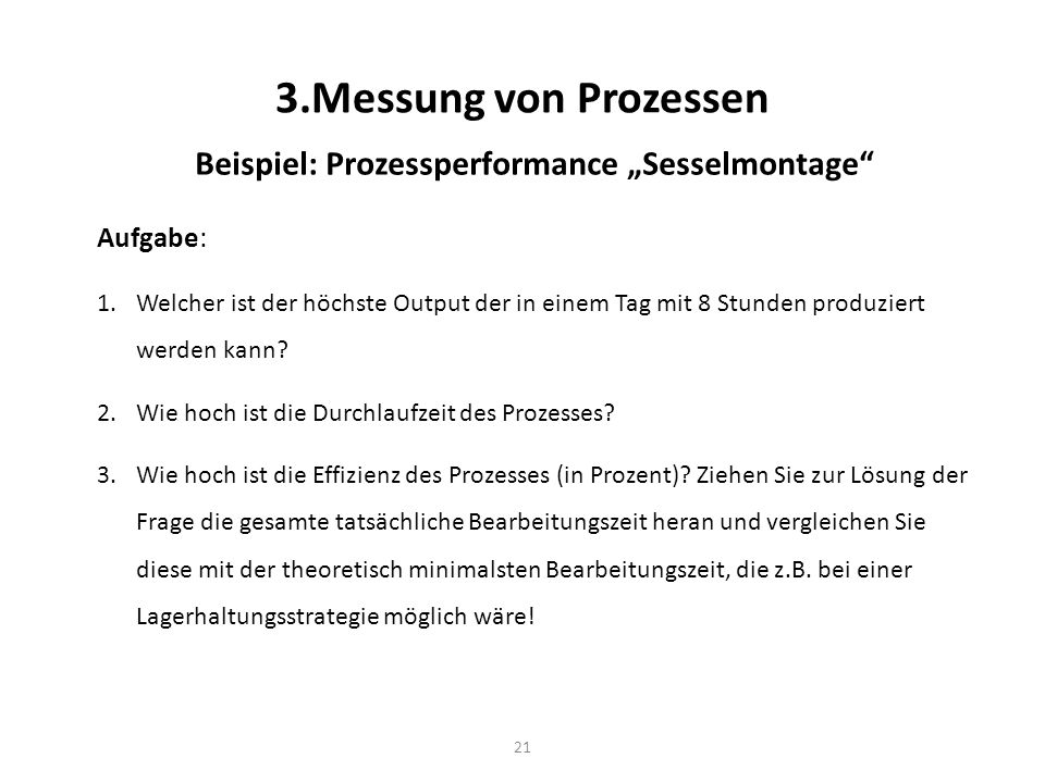 "Beispiel: Prozessperformance ""Sesselmontage"