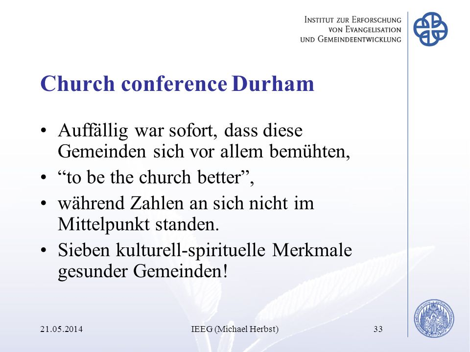Church conference Durham