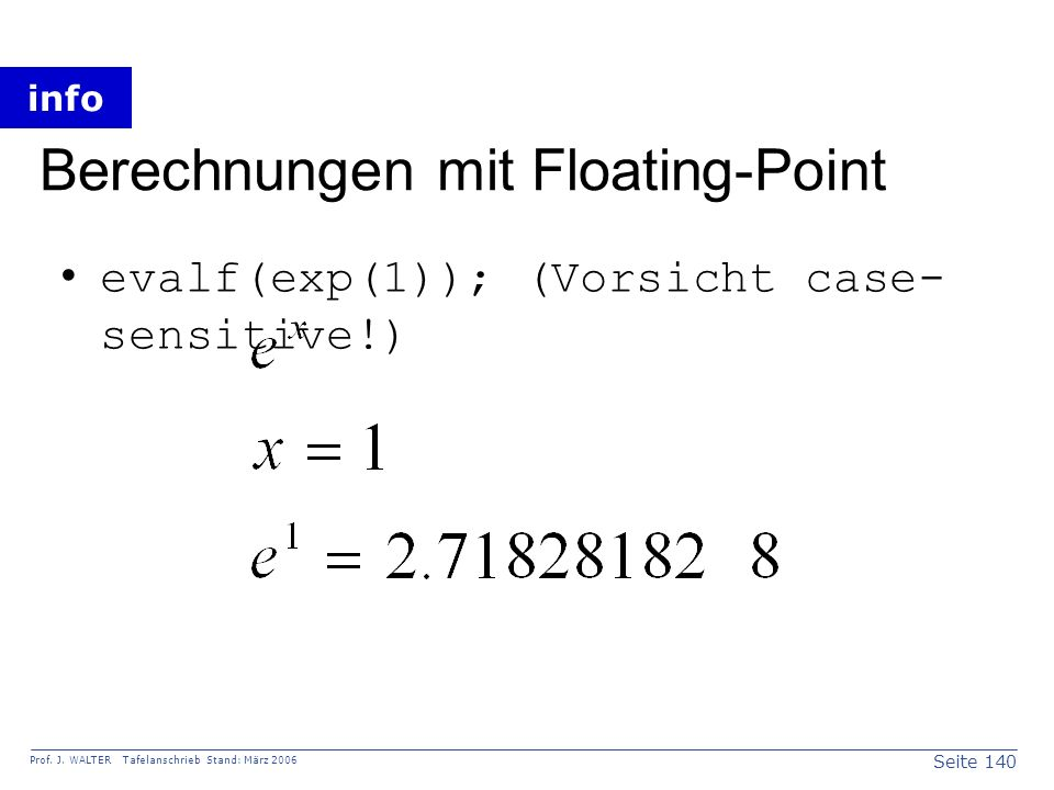 Berechnungen mit Floating-Point