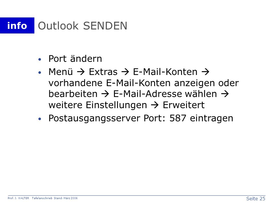Outlook SENDEN Port ändern