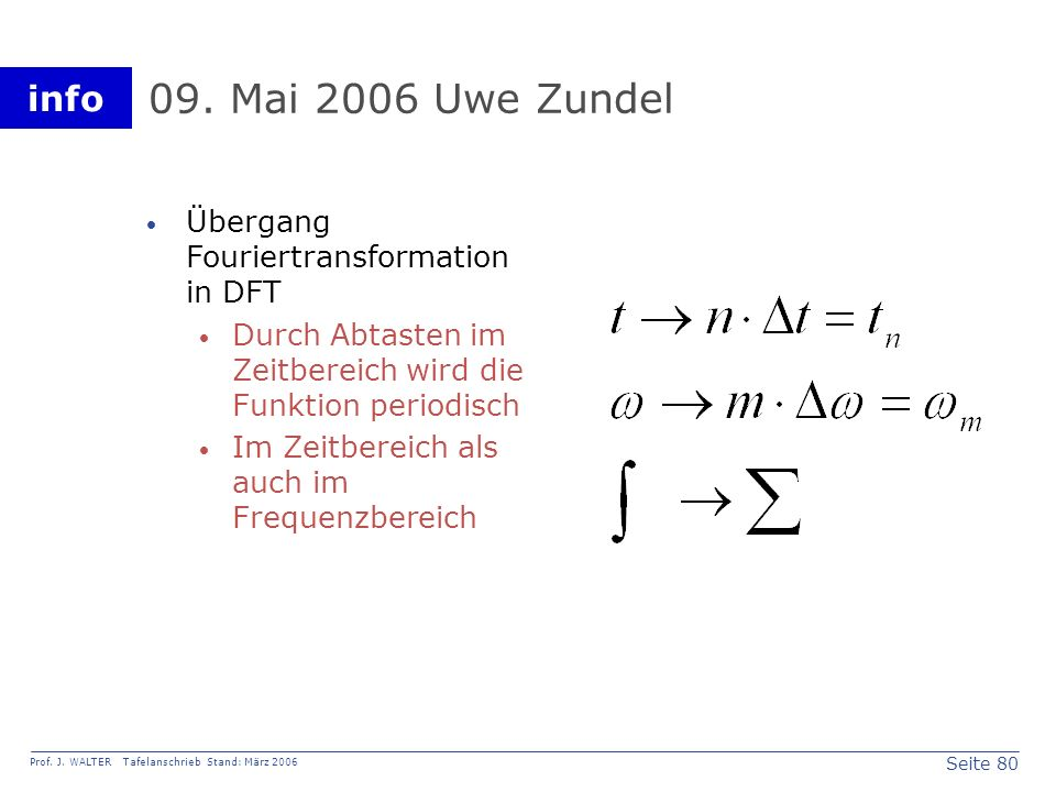 09. Mai 2006 Uwe Zundel Übergang Fouriertransformation in DFT
