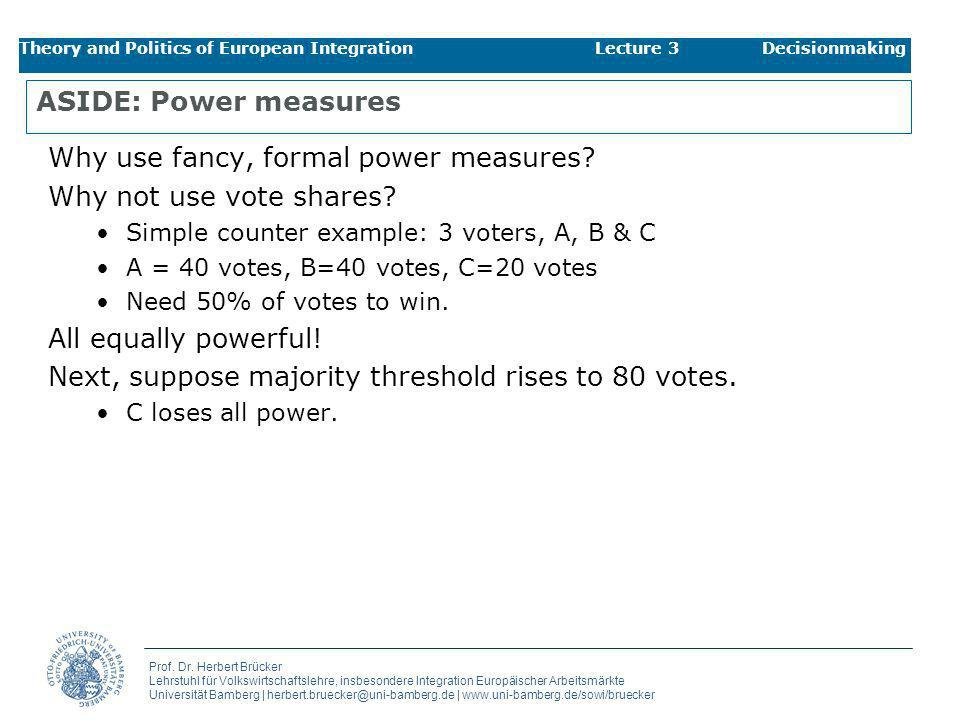 Why use fancy, formal power measures Why not use vote shares